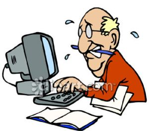 0060-0808-1915-1235_Man_Working_on_a_Computer_Sweating_to_Meet_a_Deadline_clipart_image