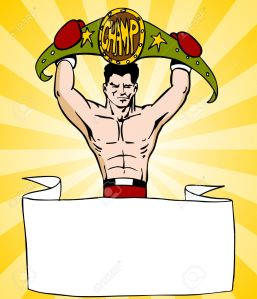 An image of a banner with a boxer fighter holding a championship belt.